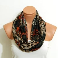 Infinity Scarf ,Leopard scarf,cinnamon, black.leopard pattern pchiffon fabric  Loop Infinity Scarves. Circle Scarf ,Womens Accessories.