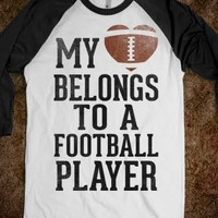 My Heart Belongs to a Football Player (Baseball Tee) - Sports Girl