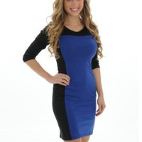 Amazon.com: Womens Dress Blue and Black Color Block Wear to Work Dress or Evening Wear Sizes: Small: Clothing