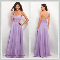 Charming purple one-shoulder floor length prom dress/evening dress