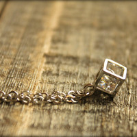 Boxed Diamond Silver Necklace by saffronandsaege on Etsy
