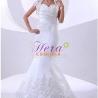 Gorgeous Mermaid Sweetheart Ruffles White Lace and Satin Wedding Dress
