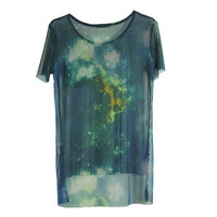 Openwork Mesh Dark Galaxy Printing T-shirt from Charming Galaxy