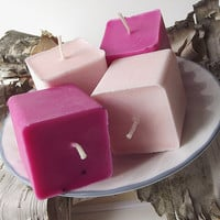 Soy Candles - Sweet Pea & Vanilla and Jasmine scented Soy Votive Candles -- (4)2 ounce Square Votive Candles