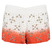 NEW WOMENS CREAM ORANGE DIP DYE BEAD EMBELLISHED SHORTS HOT PANTS HOTPANTS 8-16