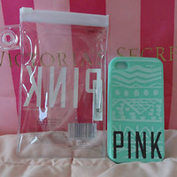 Victoria's Secret Pink iPhone Case Cover Skin Soft 4/4s Mint Green Aztec Print