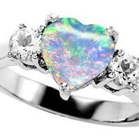 Original Star K(tm) 8mm Heart Shape Created Opal Engagement Ring LIFETIME WARRANTY