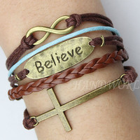 bronze cross bracelet believe blessing infinity bracelet  brown leather bracelet unique character different bracelet 2013-N1085