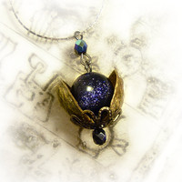 Universe in a nutshell pendant, sunstone necklace, blue sandstone necklace