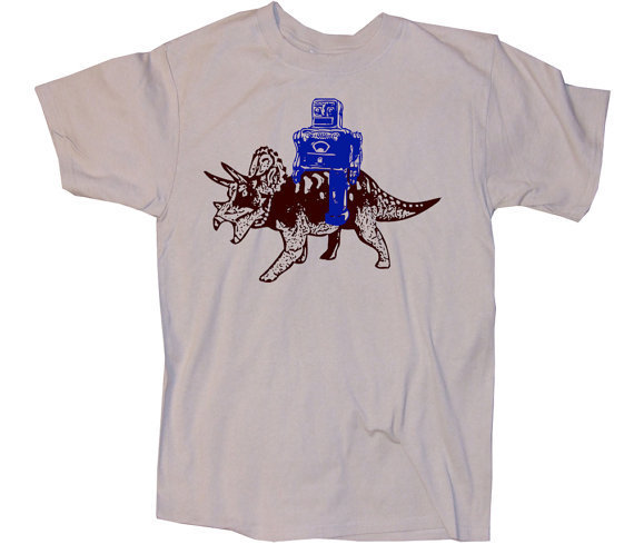 Robot and Triceratops Funny Science Geek Shirt  by happyfamily