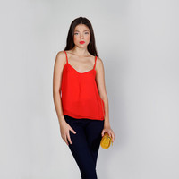 Chiffon Sleeveless Shirt, Red Strappy Top, Summer Top