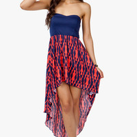 A'GACI Elastic Back Abstract Tribal Hi Low Dress - DRESSES