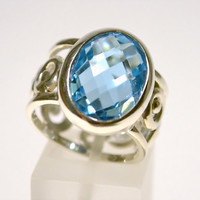 Silver ring with blue topaz (carved wide band ring)