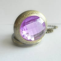 Light Purple Pocket Watch Necklace in Antique Brass