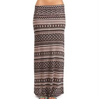 Tan/Black Tribal Print Maxi Skirt