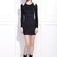 Starry Irregular tight shoulder opening dress black