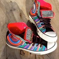 "Rainbow Converse - Studded Converse - Rare ""100 Ripples of Hope""  Converse Project (red)"