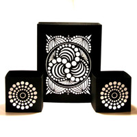 Crop Circle Luminaries Geometric Home Decor Black and White Set of 3