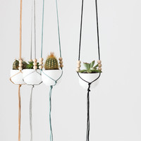 mini hanging planter with cup - macrame planter - modern plant holder - minimalist - string - home decor