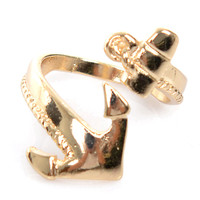 Nautical Gold Anchor Wrap Ring - Unique Vintage - Prom dresses, retro dresses, retro swimsuits.