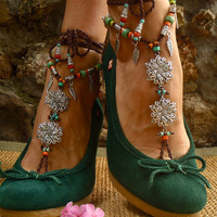BOHEMIAN BAREFOOT WEDDING barefoot sandals Anklets crochet Gypsy Sandals sole less shoes crochet anklets barefoot flowers slave anklet