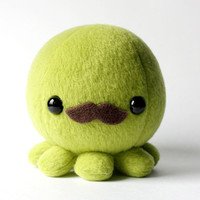 Green Octopus Plush with Moustache by cheekandstitch on Etsy