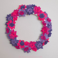 Tropical Blossom Wreath Bright HotPink Purple Felt Flowers