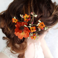 fall wedding hair clip, autumn wedding, fall flower hair accessory, orange flower - WILDWOOD BRAMBLE - rustic wedding accessories