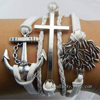Unisex  simple fashion antique silver anchor,cross and Christmas tree pendant leather bracelet--white wax rope leather braided bracelet