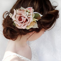 dusty pink flower hair clip bridal hair accessory by thehoneycomb