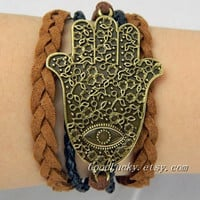 Lucky hand Bracelet--The ancient Bronze Hamsa Hand bracelet , Hand of Fatima bracelet,brown and black Leather braided bracelet