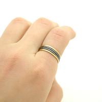 Shiny Polished Raw Brass and Oxidized Sterling Silver Filled Hammered Stack Ring , Skinny Stacking Rings Set of 4 - Simple Modern Minimal
