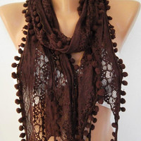 Lace and elegant  scarf - Chocolat