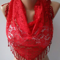 Lace - Super elegant scarf  Lace scarf...Red