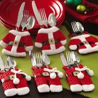 Santa Suit Christmas Silverware Holder Pockets By Collections Etc: Home & Kitchen