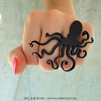 An Octopus Love Affair Ring - Laser Cut Acrylic (C.A.B. Fayre Original Design)