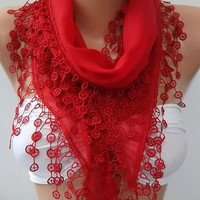 Super elegant scarf -Cotton scarf-- Soft scarf-- Red scarf