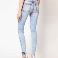 Just Female High Waist Acid Wash Skinny Jeans - Blue