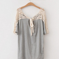 Loose Tshirt Tops Tee Short Batty Sleeve Boat Neck Casual [19]