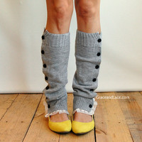 SALE SALE The Miss Molly - Light Heather Grey Slouchy Button Down Leg Warmers w/ Ivory Knit Lace - Legwarmers boot socks (item no. 7-13)