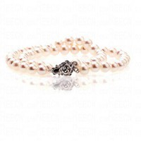 6-7mm White Double Layer Pearl Beaded Flower Style Button Bracelet
