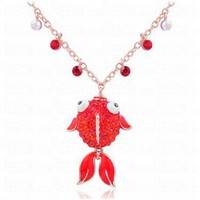 Red Fish Teardrop Diamond Pendant Gilded Necklace