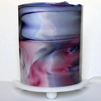 Handmade Fused Glass Table Lamp with Swirls of Pink and Purple