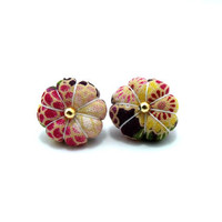 Ume Flower Earrings/ Clip on earrings- Red Peony Flower Ume Kimono Flower With Gold Beads