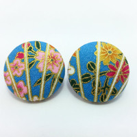 XL Button Earrings/ Clip on earrings- Kimono Sakura Fabric