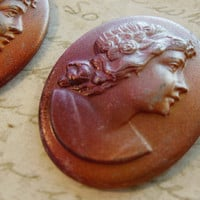 Vintage cameo raised hand painted glass shabby chic profile 40 x 32mm (1)