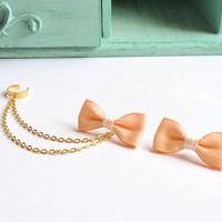 Peach Ribbon Bow Double Gold Chain Ear Cuff Pair by oflovelythings