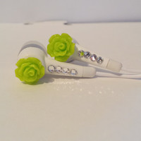 Cute Bright Neon  Green Rose Earbuds With Swarovski Crystals.