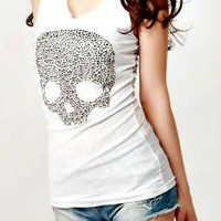 White Skull embellished Tank Top from beehipster