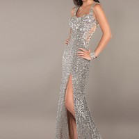 Jovani 1662 Nude/Silver Beaded Evening Gown
